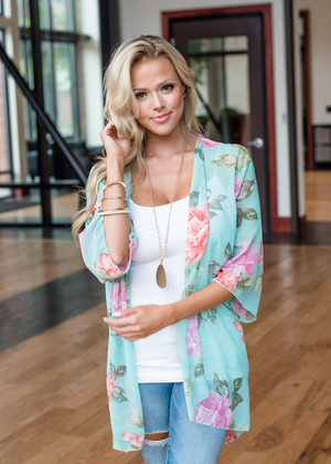 All of the Answers Floral Kimono Mint