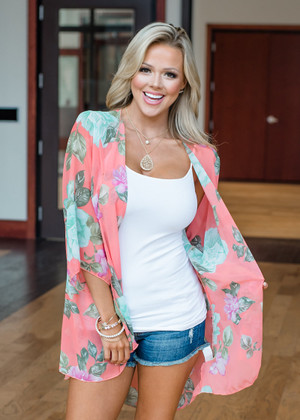 Trying To Find You Floral Kimono Coral