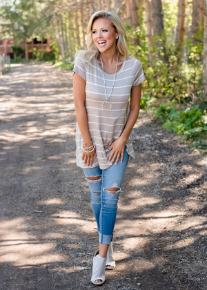Basic but Perfect Striped Twist Top Taupe