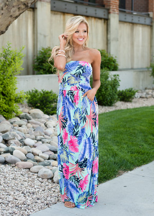 Only in Paradise Floral Pocket Maxi Mint