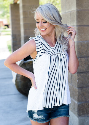 Stripe and Embroidery Mixed Ruffle High Low Top