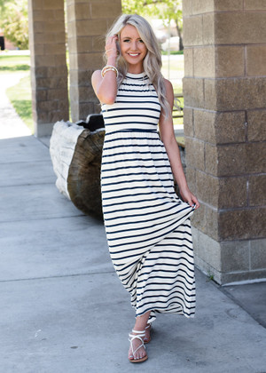 I'm Your's Striped Halter Style Maxi Dress Navy