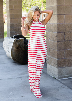 I'm Your's Striped Halter Style Maxi Dress Red