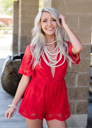 Crowd Pleaser Lace Shorts Romper Red