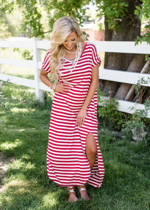 Oversized Striped Maxi Dress Red