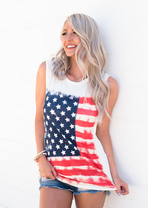 American Flag Sleeveless Knit Top White