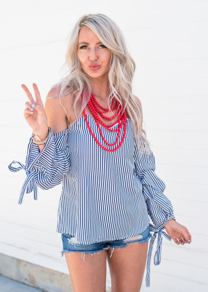 Always on My Mind Stripe Bubble Top Navy