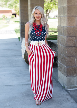 I'm Seeing Stars and Stripes Maxi Dress