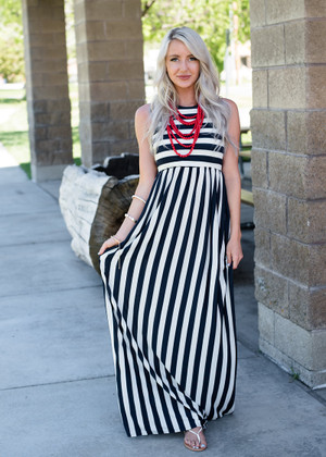 I Made a Mistake Striped Dress Navy/White