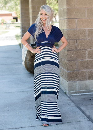 Striped Perfectly Tie Maxi Navy/White