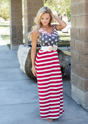 Be a Believer Maxi Dress Red/White/Blue
