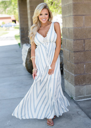 I'm The One Striped Tie Cinched Maxi Dress Ivory/Blue