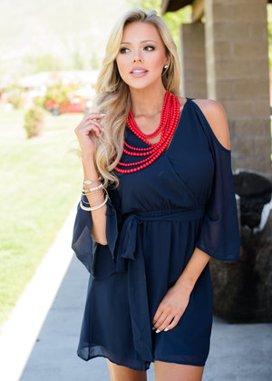 Never Felt That Way Open Shoulder Tie Dress Navy
