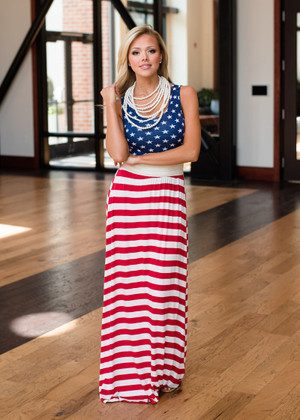 Red, White and Blue Maxi Dress