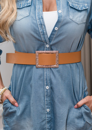 Simple Textured Faux Leather Buckle Belt Brown