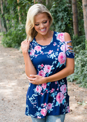 Why Not Floral Cut Out Shoulder Top Navy
