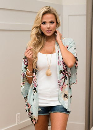 When I Need You Most Floral Kimono Mint