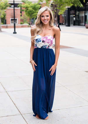 It Has to be You Floral Tube Sheer Maxi Navy
