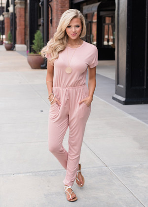 What You Need Cap Sleeve Cinched Waist Romper Pink