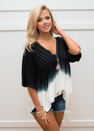 I'm Drawing the Line Ombre Drape Top Black/White
