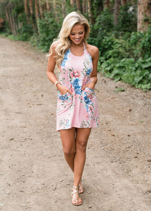 Hold Me Close Floral High Low Dress Pink