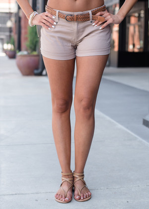 Brown Twisted Belt Shorts Tan