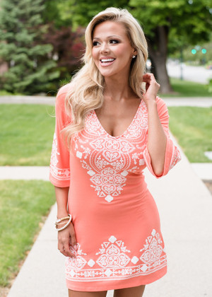 Instant Favorite Embroidered Dress Coral