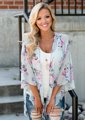 This Is How I Am Floral Kimono Mint