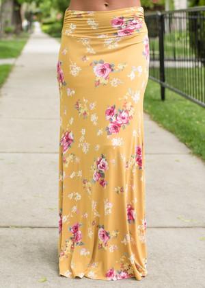 Floral Maxi Skirt Mustard