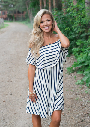 Striped Ruffle Off Shoulder Rayon Dress Ivory/Navy