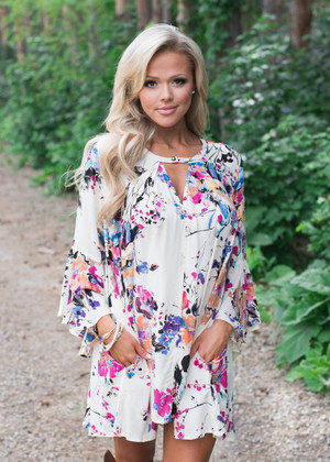Bright and Colorful Flowy Floral Dress