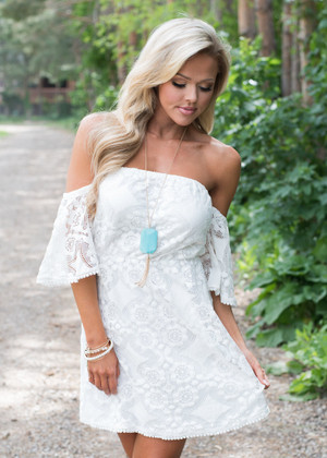 Beauty Within Me Lace Off Shoulder Dress White