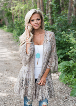 Unbelievable Lace Ruffle Cardigan Taupe