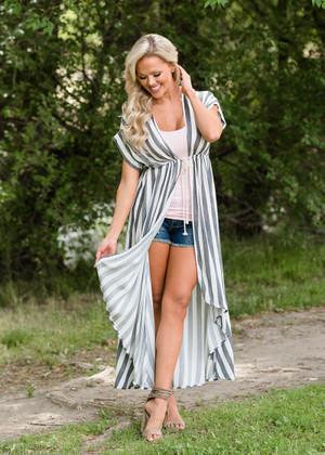 Striped Drawstring Waist High Low Cardigan Ivory/Gray
