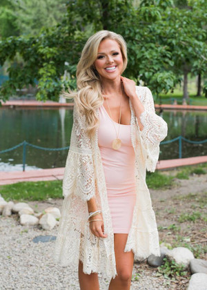 Unbelievable Lace Ruffle Cardigan Beige