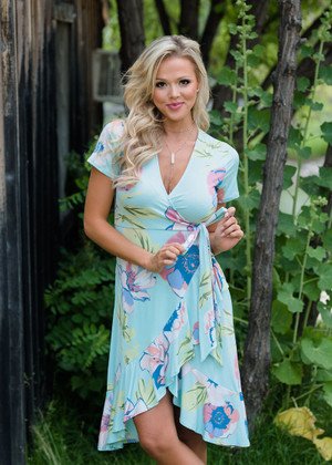 Swoon Over You Floral Ruffle High Low Dress Mint