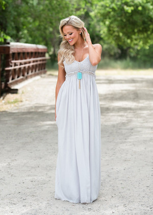To Have and to Hold Lace Maxi Dress Light Gray