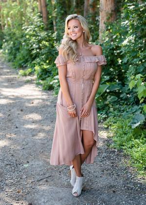 Envious Off Shoulder High Low Lace Detailed Dress Mocha