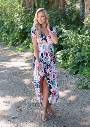 Slowly Please Floral High Low Dress Ivory
