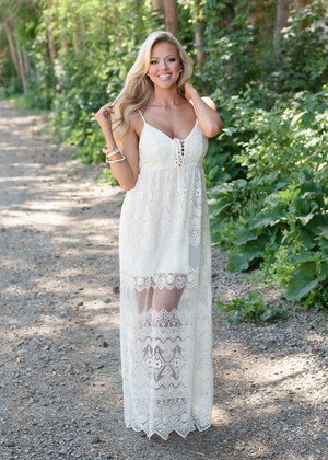 You're Mine Forever Lace Dress Beige