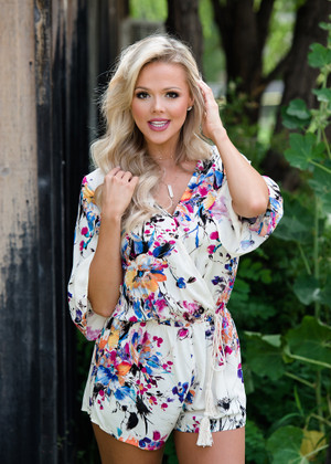 Remember This Floral Shorts Tie Romper Ivory