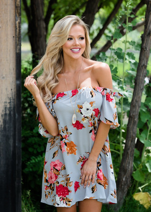 I'm The Lucky One Floral Off Shoulder Dress Gray