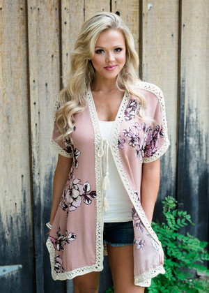 Make It Alright Floral Crochet Trim Kimono Dark Rose