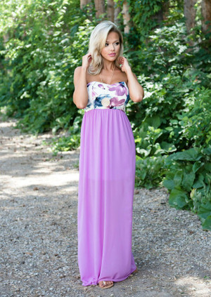 It Has to be You Floral Tube Sheer Maxi Lavender