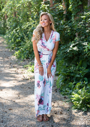 All This Time Floral Tie Maxi Dress Ivory