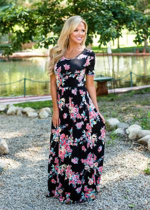 I'm Still Into You Floral Maxi Dress Black