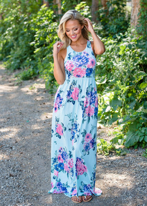 Away From the Crowds Floral Tank Dress Aqua