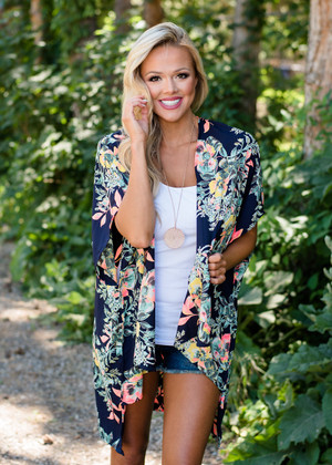 Better Than Good Floral Kimono Navy