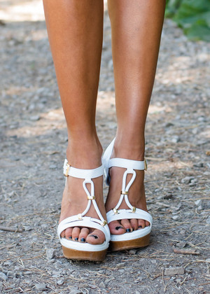 Never Met You White Wedge Sandals