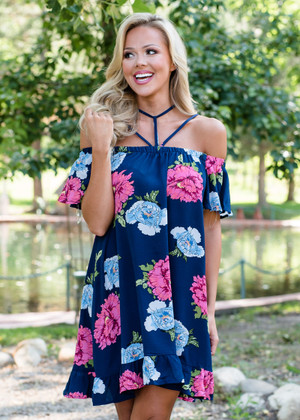 You're Not For Me Open Shoulder Dress Navy